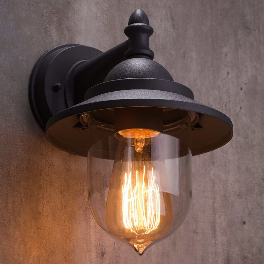 Industrial Outdoor Lanterns Pertaining To Most Up To Date Bacup Outdoor 1 Light Industrial Fisherman Style Lantern Wall Light (View 6 of 20)