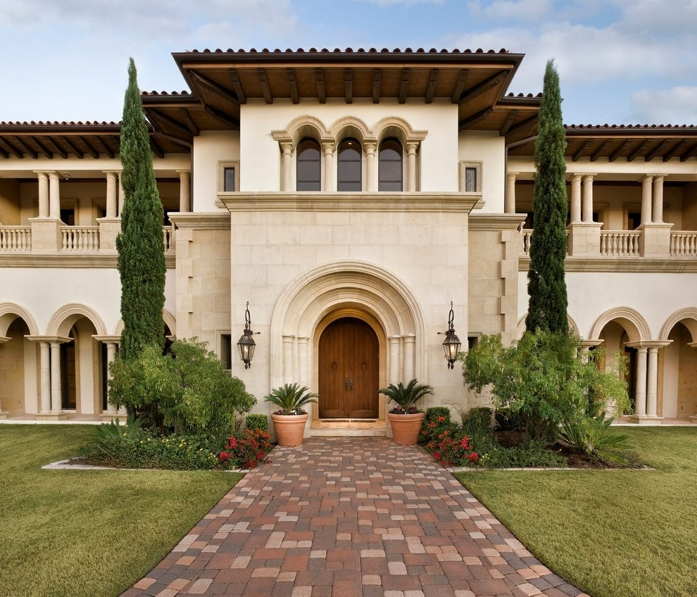 Italian Villa Mediterranean Austin With Brass Outdoor Wall Lanterns For Most Up To Date Italian Outdoor Lanterns (View 9 of 20)