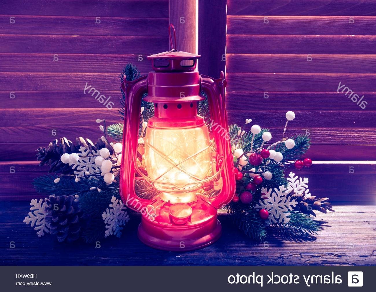 Kerosene Lamp In The Night On The Window Outdoor, Christmas Stock For Latest Decorative Outdoor Kerosene Lanterns (Gallery 20 of 20)