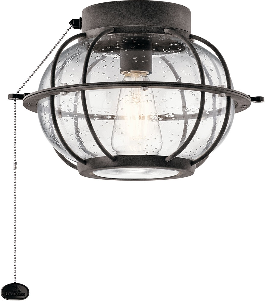 Kichler 380945Wzc Bridge Point Contemporary Weathered Zinc Led For Well Liked Outdoor Ceiling Fan Light Fixtures (View 8 of 20)