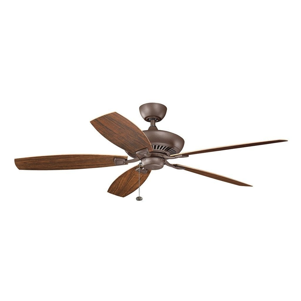 Kichler Lighting Canfield Collection 60 Inch Tannery Bronze Powder Throughout Recent Outdoor Ceiling Fans With Pull Chain (View 9 of 20)