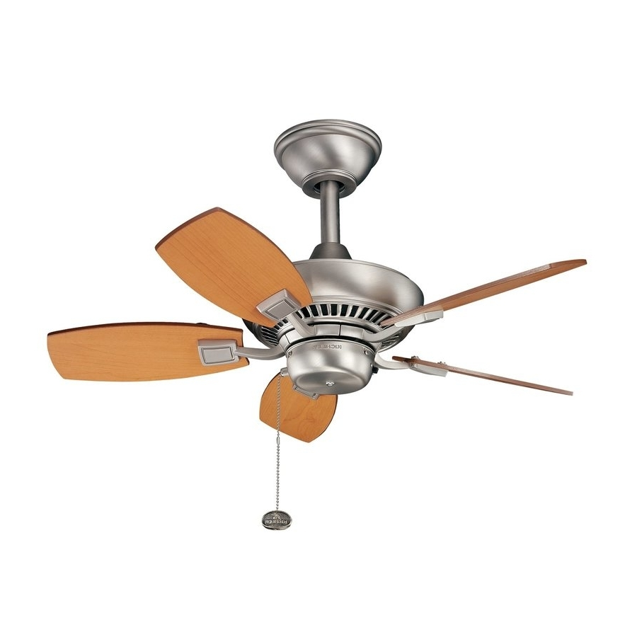 Kichler Outdoor Ceiling Fans With Lights Regarding Well Liked Shop Kichler Canfield 30 In Brushed Nickel Indoor/outdoor Ceiling (Gallery 20 of 20)