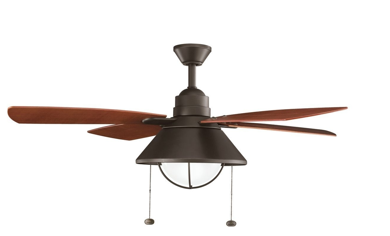 "Kichler Seaside 54"" Outdoor Ceiling Fan With Blades Light Kit Intended For Well Known Outdoor Ceiling Fans With Pull Chains (Gallery 13 of 20)"
