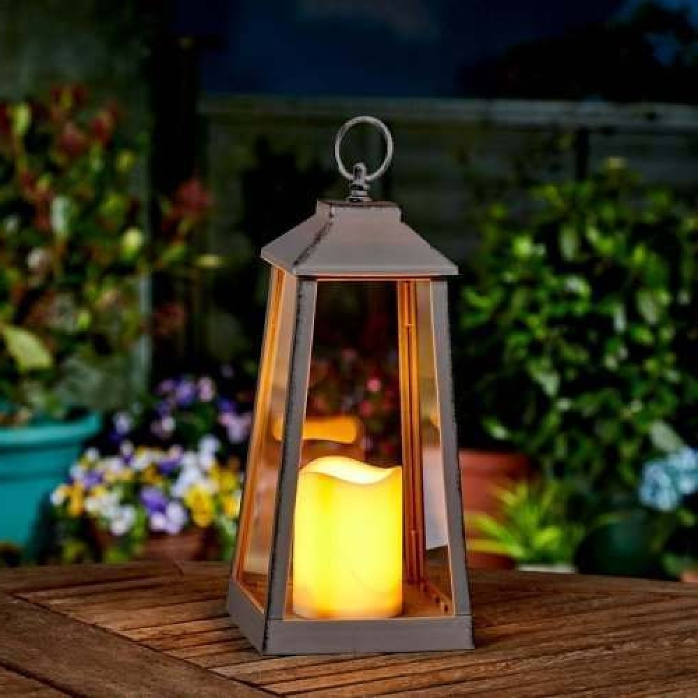 Large Grey Outdoor Flickering Candle Lantern For Fashionable Outdoor Grey Lanterns (View 20 of 20)