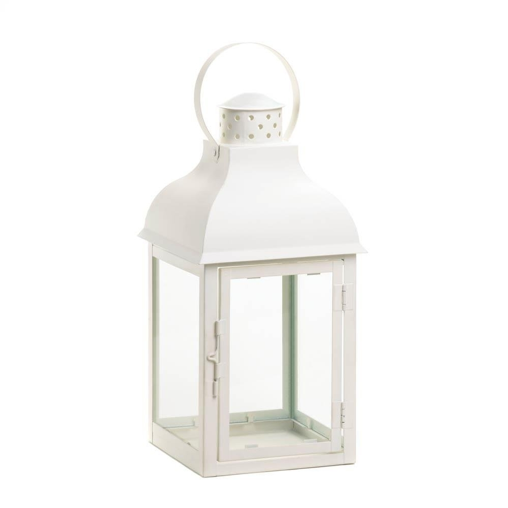 Large Lantern Lights, Gable White Candle Pillar Decorative Hanging Within Trendy Large Outdoor Lanterns (View 5 of 20)