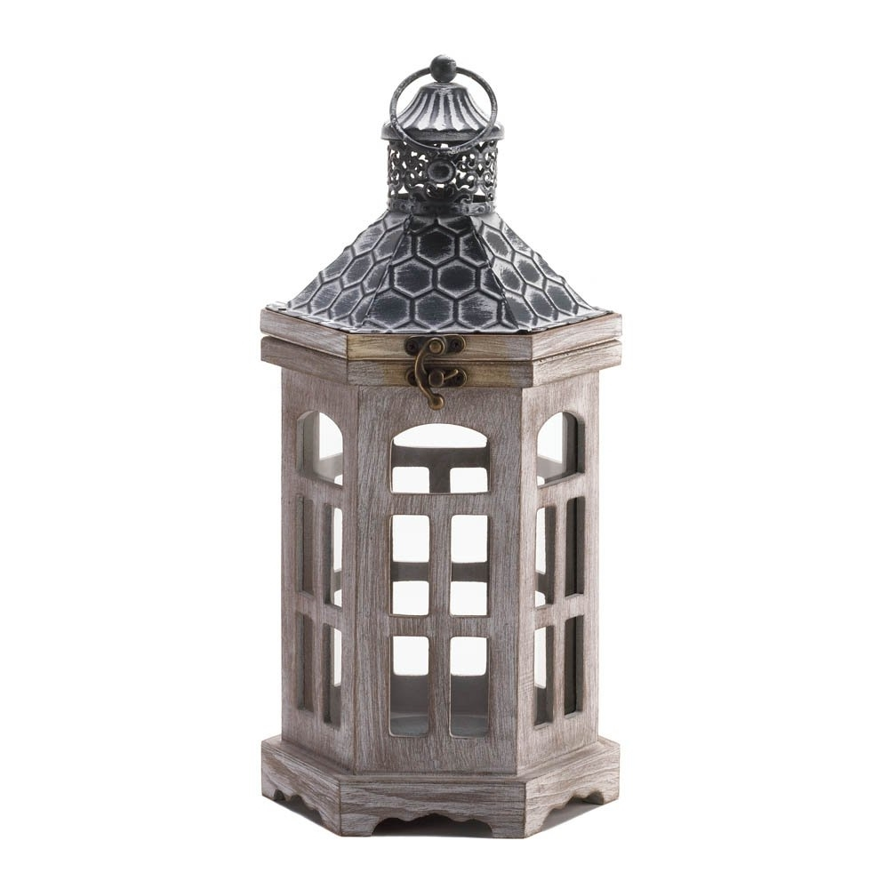 Large Outdoor Lanterns Intended For Trendy Candle Lantern Wood, Hanging Outdoor Lanterns For Candles – Pine (View 4 of 20)