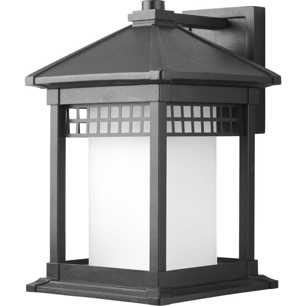 Large Outdoor Lanterns Regarding Well Known Progress Lighting Merit Collection Black 1 Light Large Outdoor Wall (View 10 of 20)