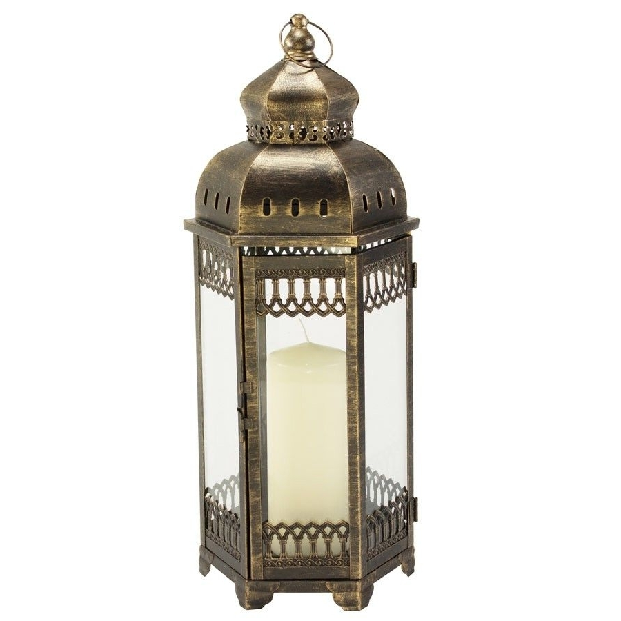 Large Outdoor Rustic Lanterns Throughout Well Known Antique Bronze Outdoor Rustic Moroccan Candle Lantern Wedding (View 11 of 20)