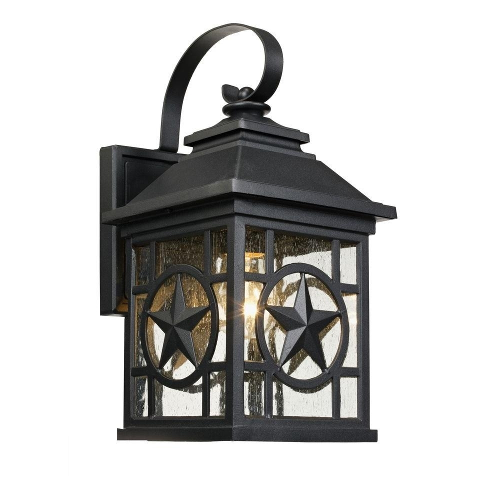 Large Outdoor Rustic Lanterns With Regard To Famous Laredo Texas Star Outdoor Black Medium Wall Lantern 1000 023  (View 12 of 20)