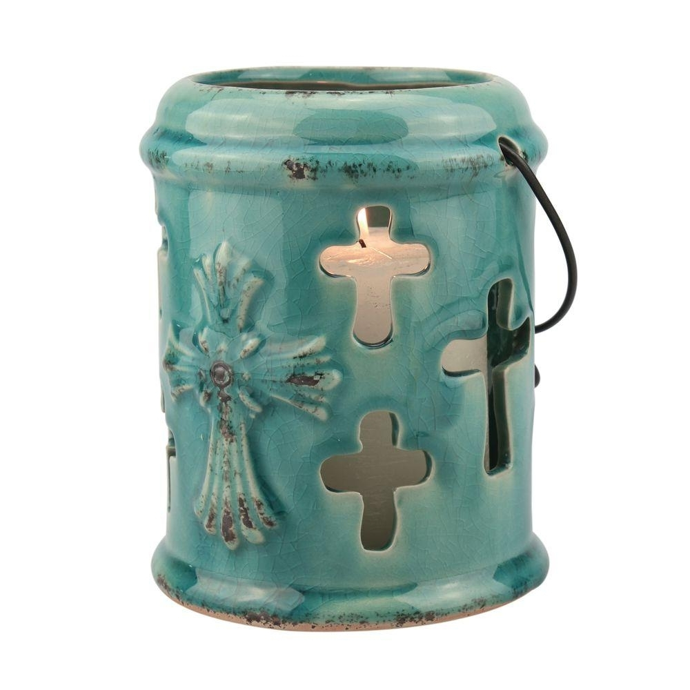 Latest Blue Outdoor Lanterns In Stonebriar Collection 6 In (View 6 of 20)