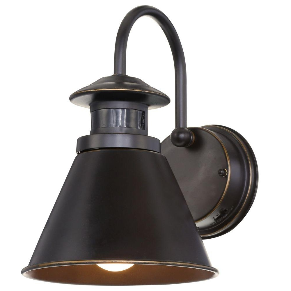Latest Hampton Bay 180 Degree Oil Rubbed Bronze Motion Sensing Outdoor Wall Intended For Outdoor Oil Lanterns (View 17 of 20)