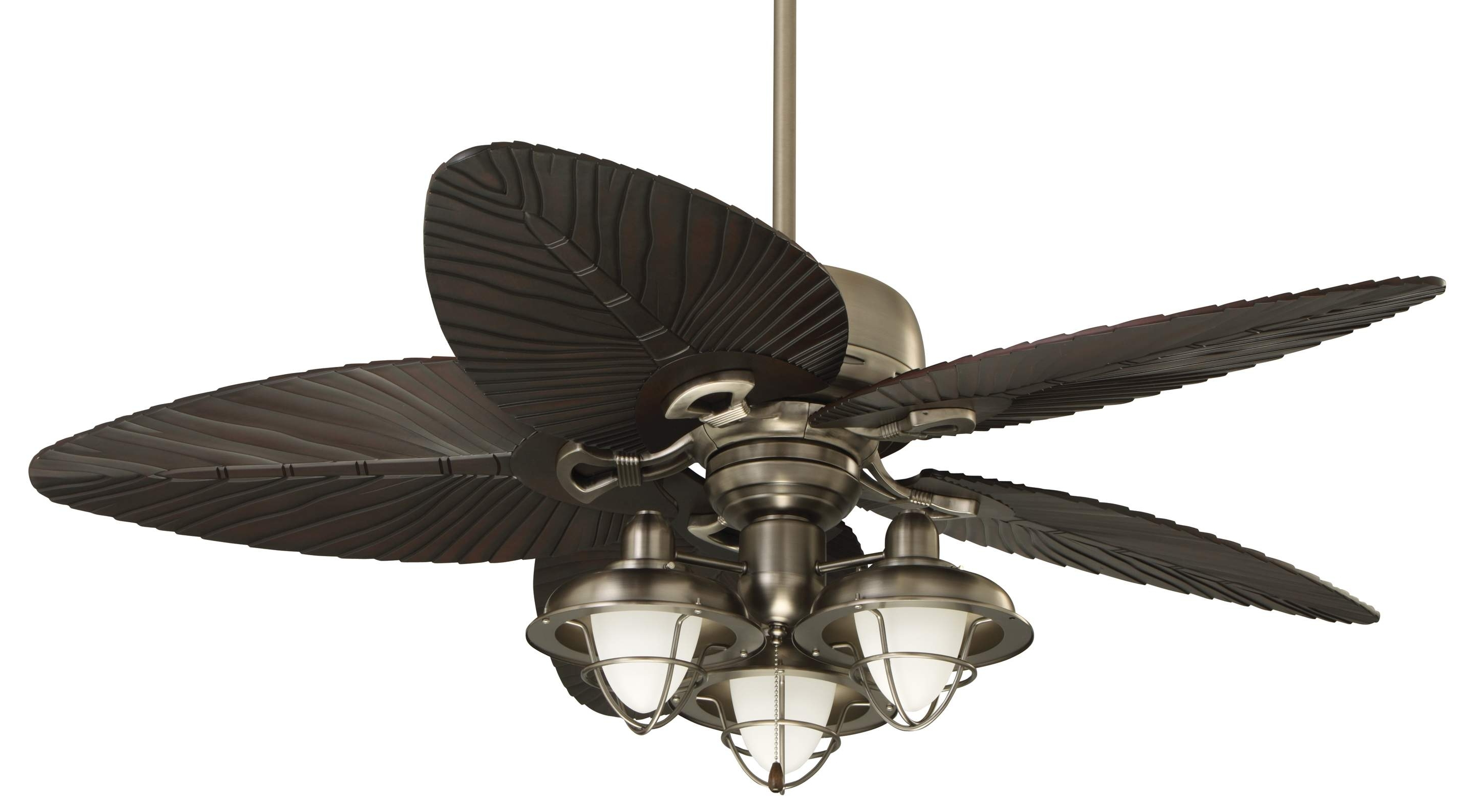 Latest Outdoor Ceiling Fans With Leaf Blades With Regard To Decor: Bring An Island Look Into Your Home With Cool Ceiling Fan (View 5 of 20)