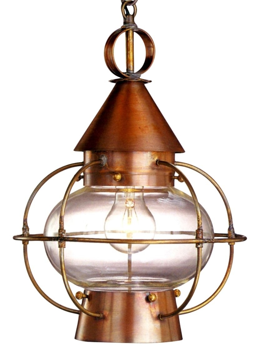 Latest Outdoor Hanging Electric Lanterns Regarding Cape Cod Onion Electric Copper Lantern Hanging Pendant Light (Gallery 9 of 20)