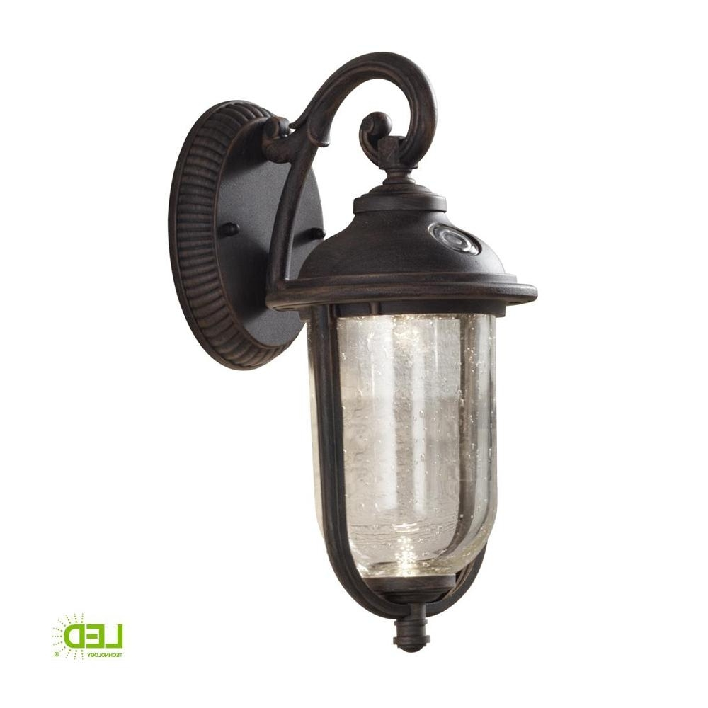 Latest Outdoor Lanterns With Photocell With Regard To Hampton Bay Perdido Rustic Bronze Outdoor Integrated Led 6 In (View 8 of 20)