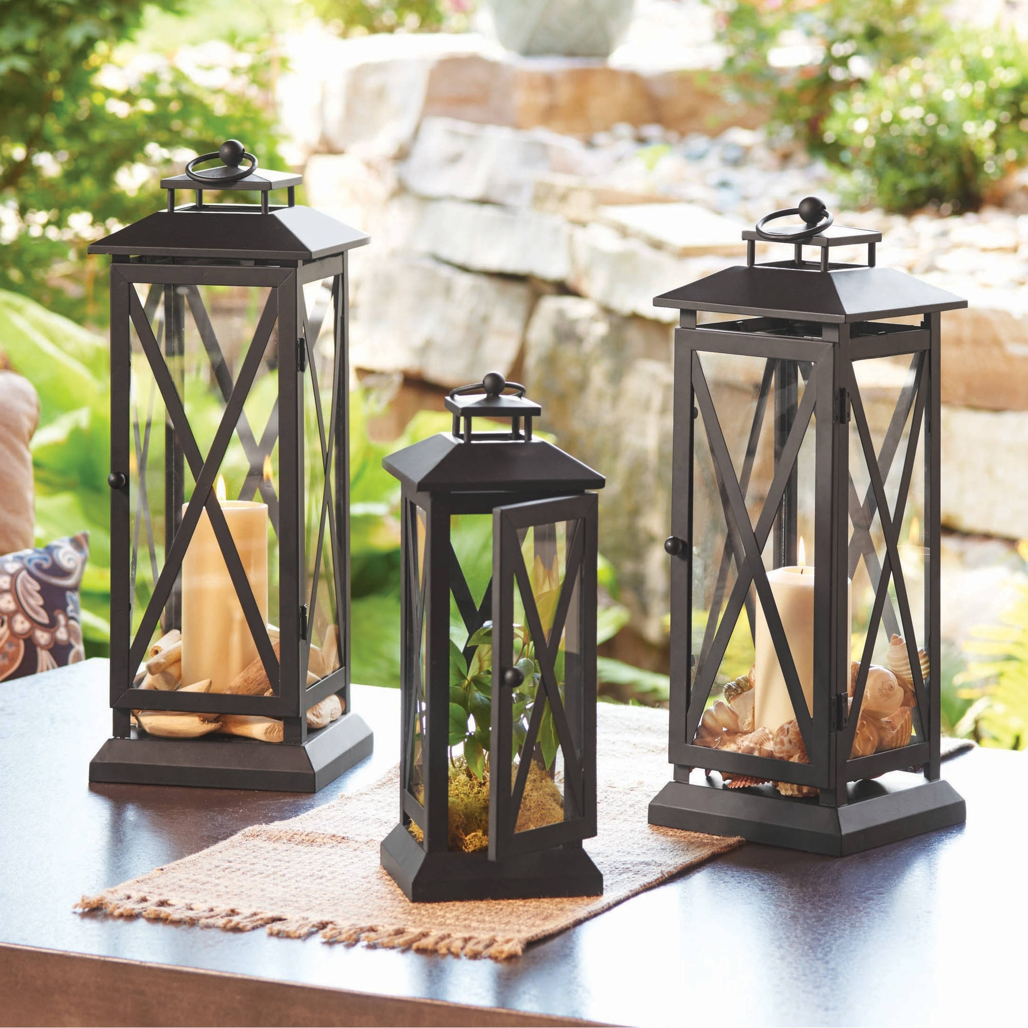Latest Outdoor Metal Lanterns For Candles Pertaining To Better Homes And Gardens Crossbar Metal Outdoor Lantern – Walmart (View 6 of 20)