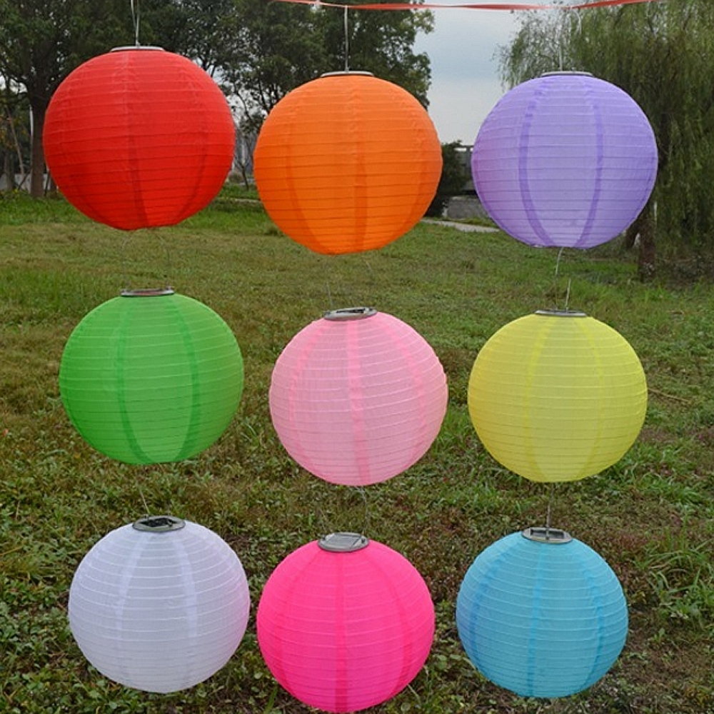 "Latest Outdoor Nylon Lanterns With Regard To 10"" Solar Powered Led Light Chinese Nylon Fabric Lantern Lamp (Gallery 10 of 20)"