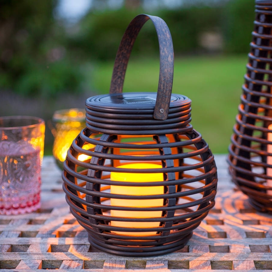 Latest Outdoor Orange Lanterns Pertaining To Round Solar Rattan Lantern Lightlights4Fun (View 6 of 20)