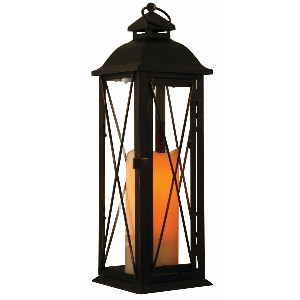 Latest Outdoor Timer Lanterns Intended For Smart Design Siena 16 In. Antique Brown Led Lantern With Timer (Gallery 19 of 20)
