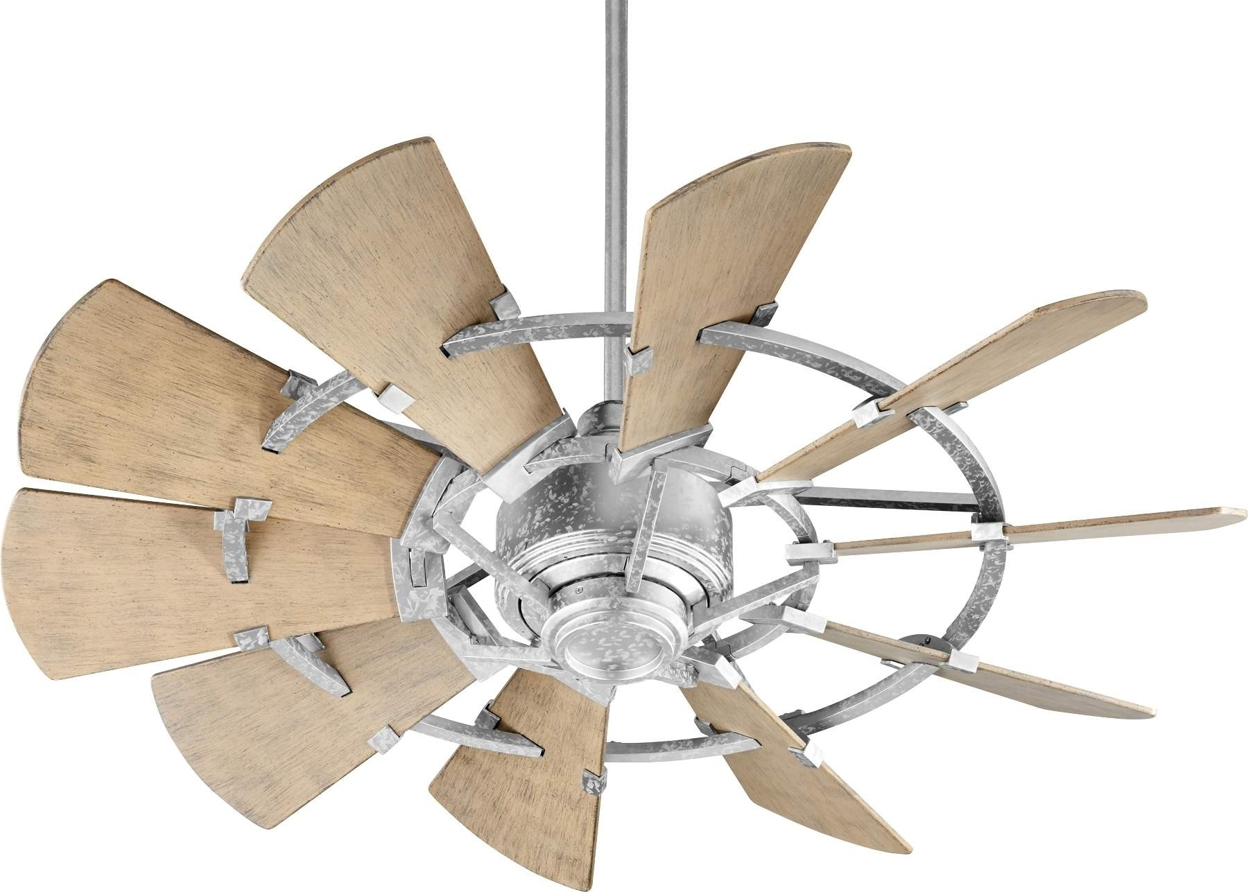 Latest Outdoor Windmill Ceiling Fans With Light Throughout Quorum Windmill Ceiling Fan Model 194410 9 In Galvanized (View 10 of 20)