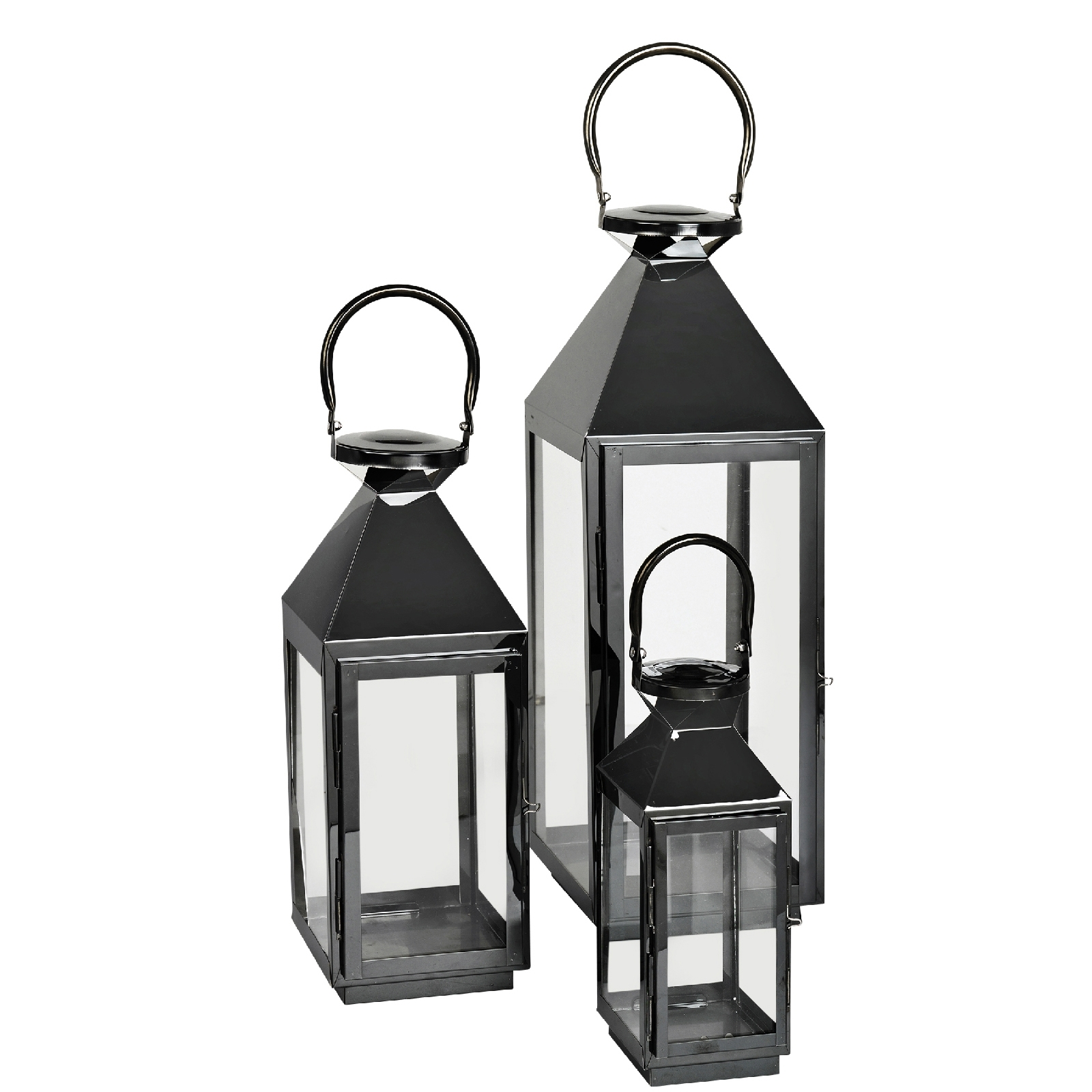 Latest Set Of 3 Outdoor Lanterns Throughout Broste Copenhagen Frit Outdoor And Indoor Lanterns – Black (Set Of  (View 7 of 20)