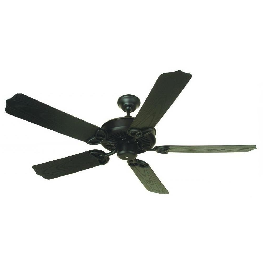 Latest Traditional Outdoor Ceiling Fans Intended For Craftmade Opxl52Fb Traditional Ceiling Fan 52 Inch 5 Blade Flat (View 6 of 20)