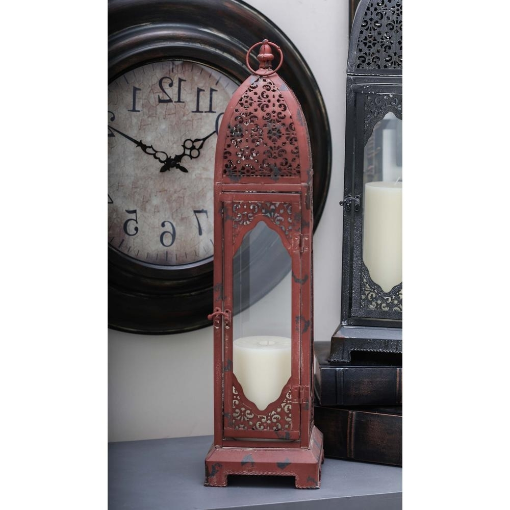 Litton Lane Moroccan Candle Lantern In Distressed Red Metal 50483 For Popular Moroccan Outdoor Electric Lanterns (View 17 of 20)