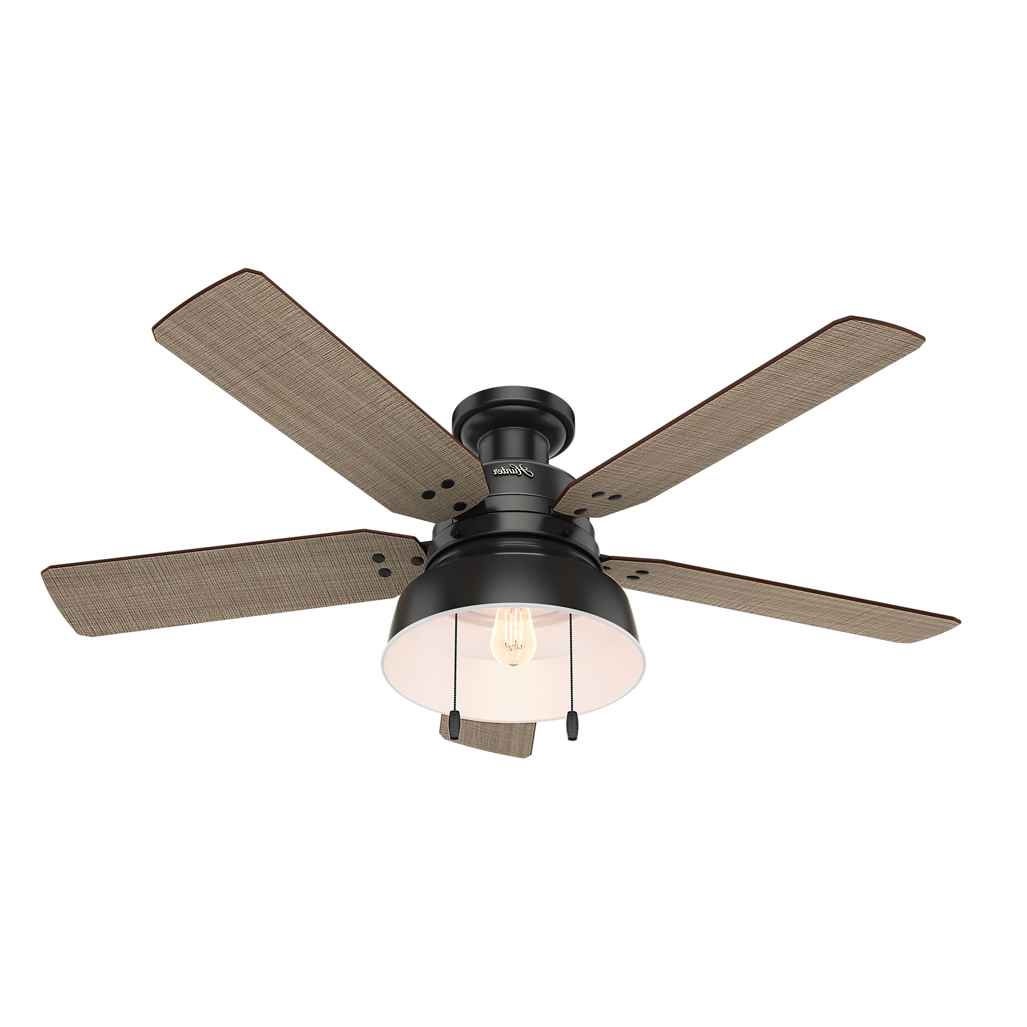 Low Profile Outdoor Ceiling Fans With Lights Throughout Widely Used Mill Valley Low Profile Outdoor Ceiling Fan With Lighthunter Fan (View 12 of 20)