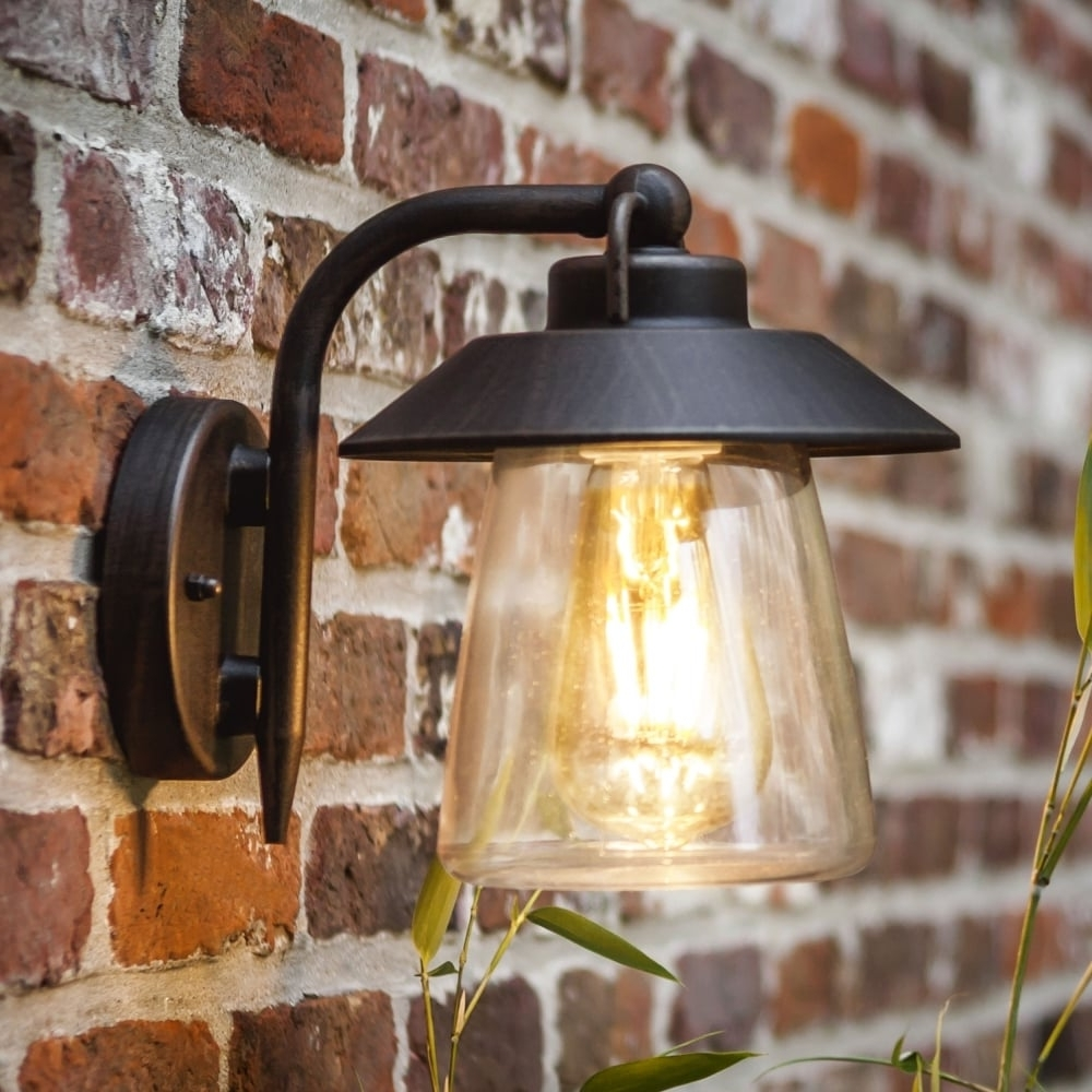 Lutec Cate Exterior Wall Lantern In Brown/black – Fitting Type From Regarding Fashionable Outdoor Mains Lanterns (View 18 of 20)