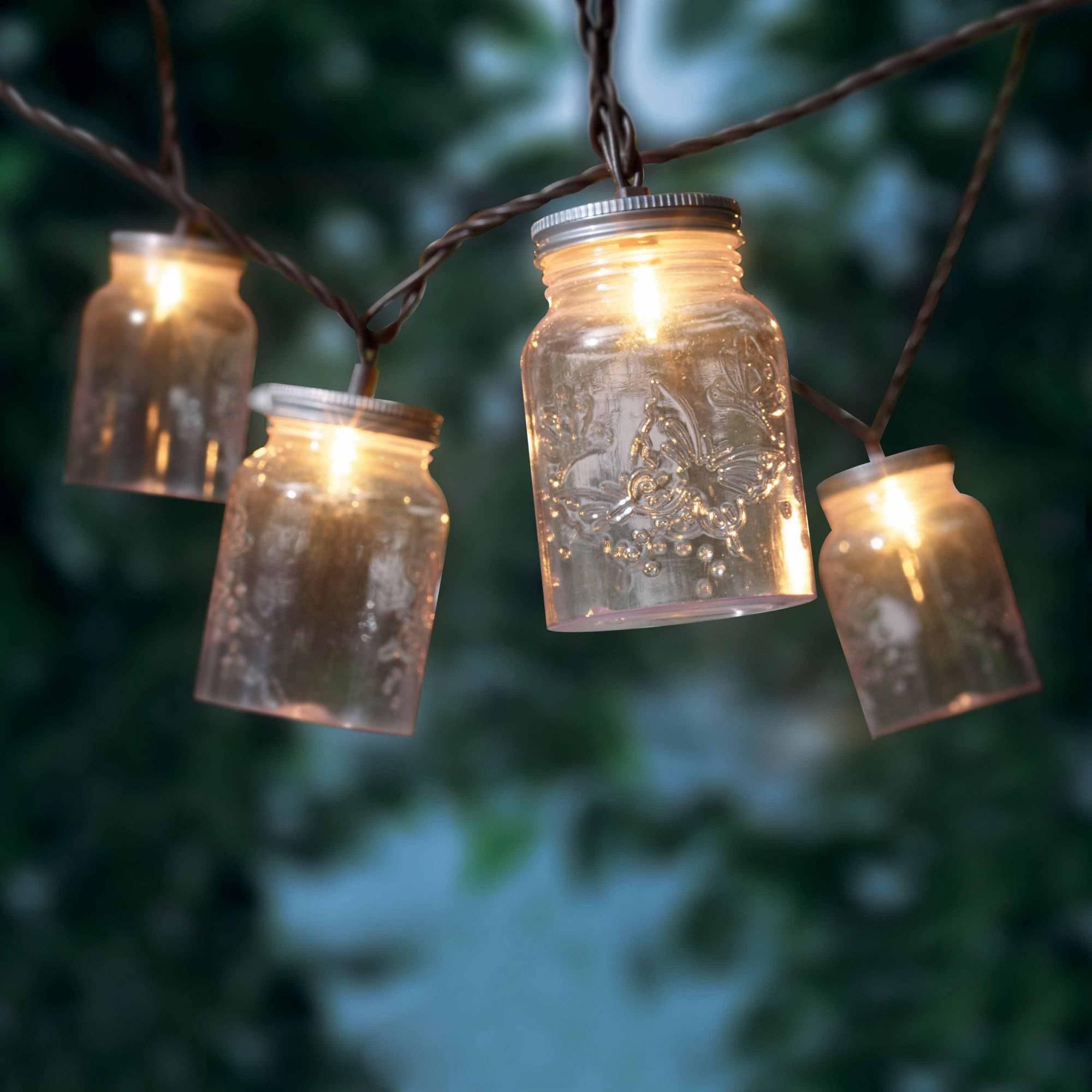 Mainstays Mason Jar Mini String Lights, 10 Count – Walmart Within Latest Outdoor Jar Lanterns (View 8 of 20)