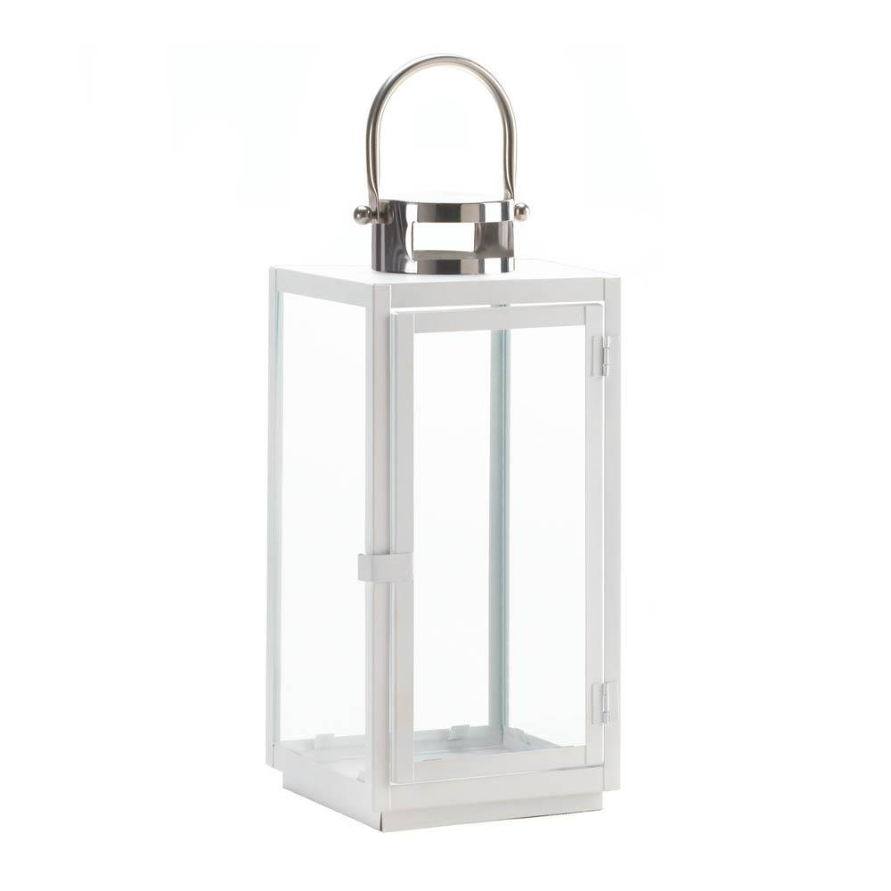 Metal Candle Lantern, Carrel White Decorative Hanging Outdoor With Regard To Fashionable Outdoor Decorative Lanterns (View 8 of 20)