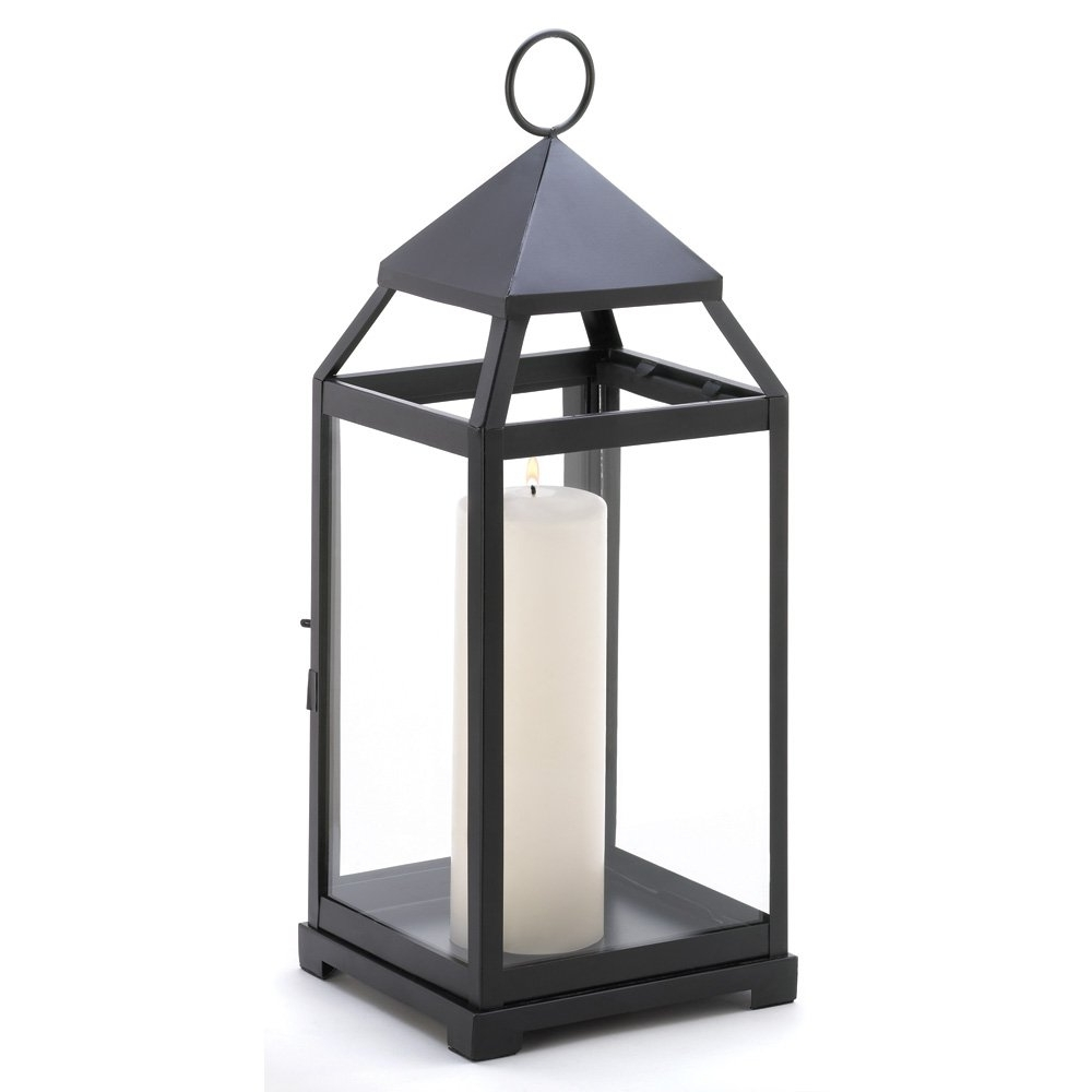 Metal Candle Lanterns, Large Iron Black Outdoor Candle Lantern For Intended For Trendy Outdoor Candle Lanterns For Patio (Gallery 1 of 20)