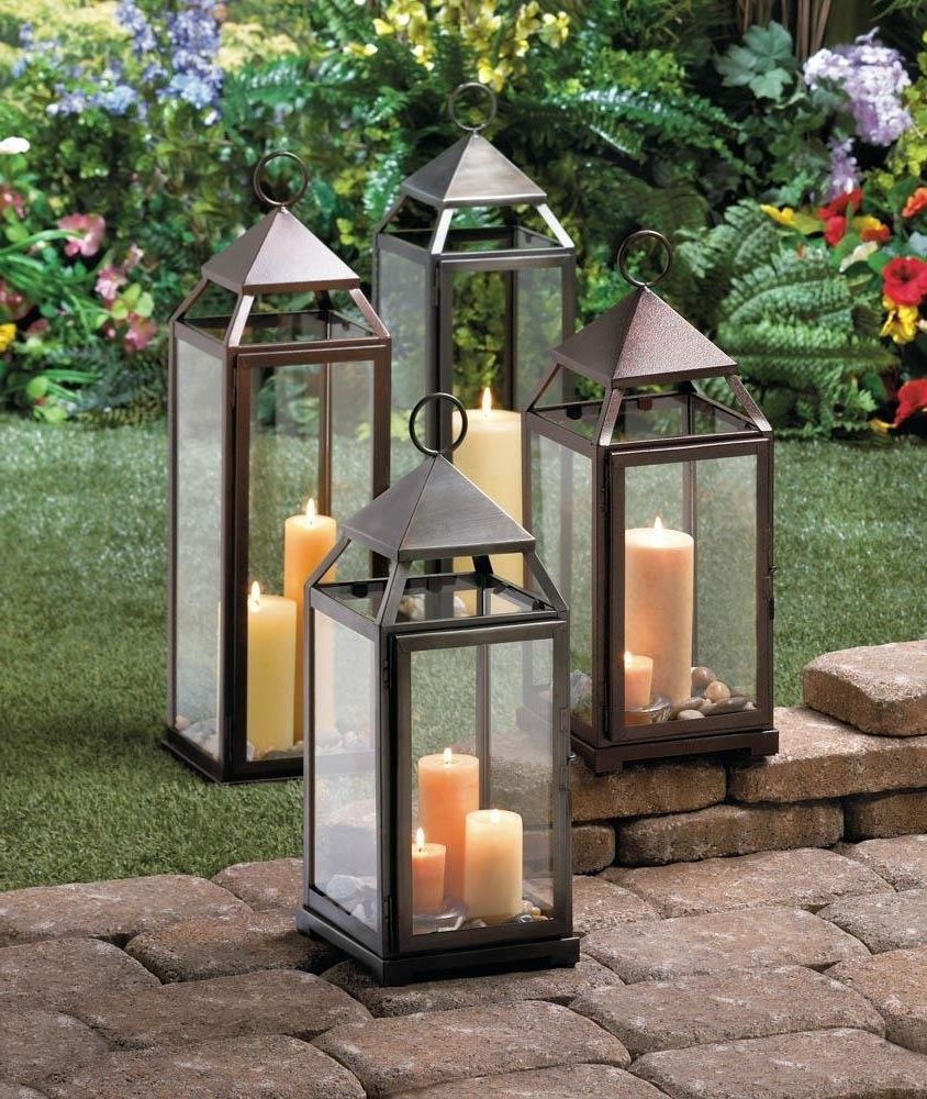 Metal Lantern, Large Contemporary Hanging Decorative Floor Patio Intended For Well Liked Outdoor Lanterns For Patio (View 8 of 20)