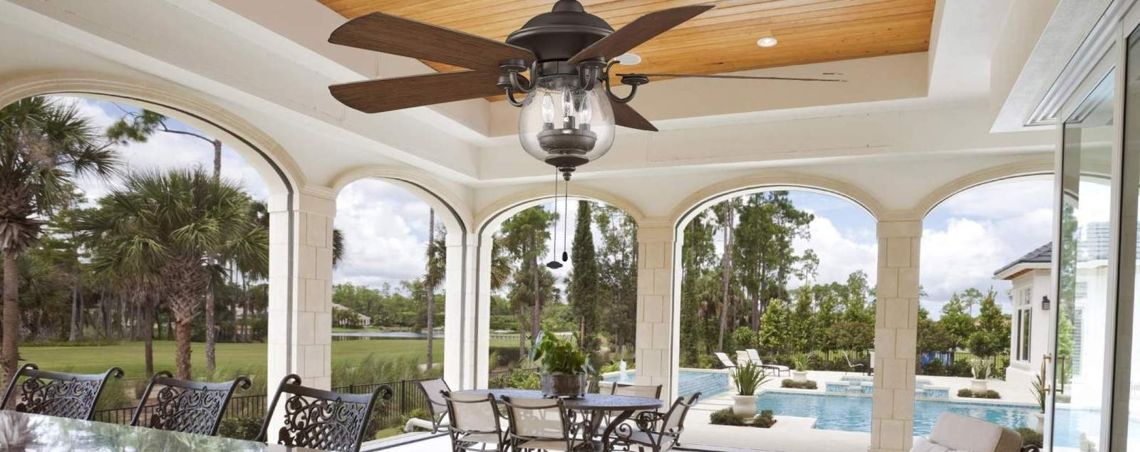 Metal Outdoor Ceiling Fans With Light Pertaining To Well Known Outdoor Ceiling Fans – Shop Wet, Dry, And Damp Rated Outdoor Fans (View 19 of 20)
