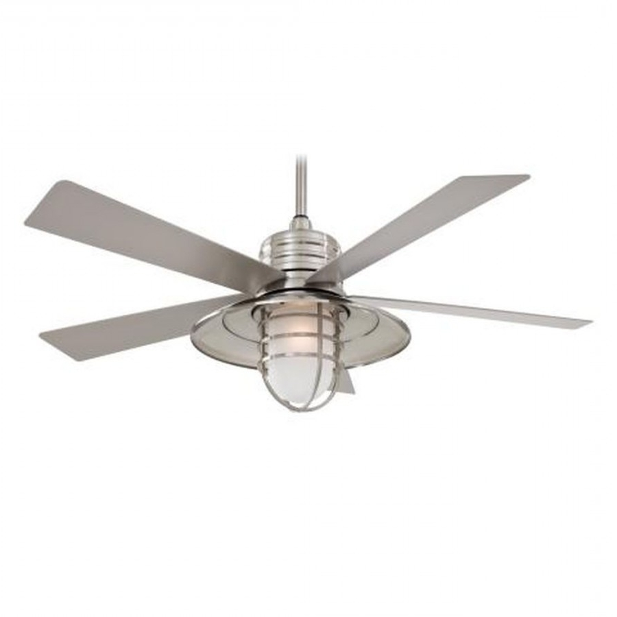 Minka Aire F582 Rainman 1 Light 5 Blade 54 Inch Outdoor Ceiling Fan Intended For Well Known Minka Outdoor Ceiling Fans With Lights (View 4 of 20)