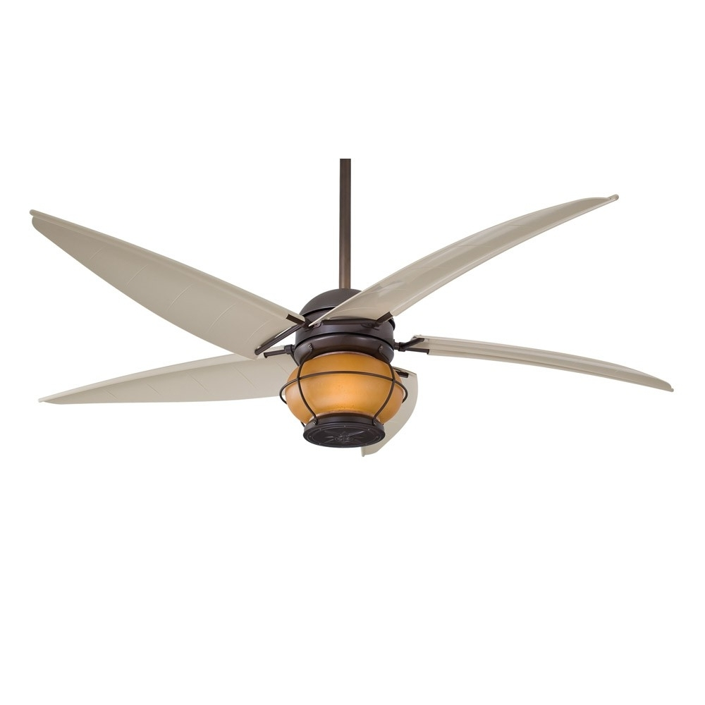 "Minka Aire Magellan F579 L Orb 60"" Outdoor Ceiling Fan With Light Regarding Famous Nautical Outdoor Ceiling Fans (View 8 of 20)"