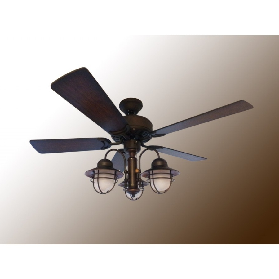 "Mission Style Outdoor Ceiling Fans With Lights Intended For Famous 42"" Nautical Ceiling Fan With Light – Outdoor Dixie Belle (View 4 of 20)"