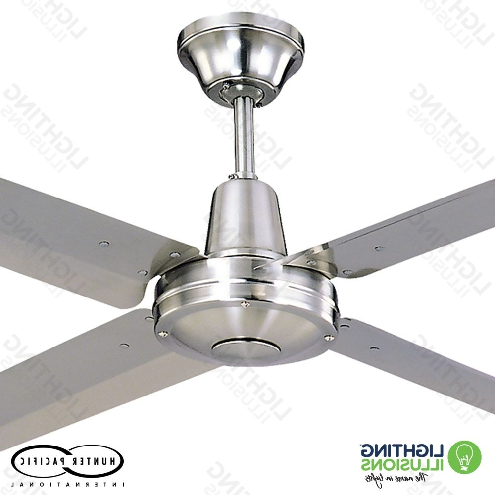 Modern Ceiling Fans – Metal Blades – Lighting Illusions Online Intended For Current Stainless Steel Outdoor Ceiling Fans With Light (View 11 of 20)
