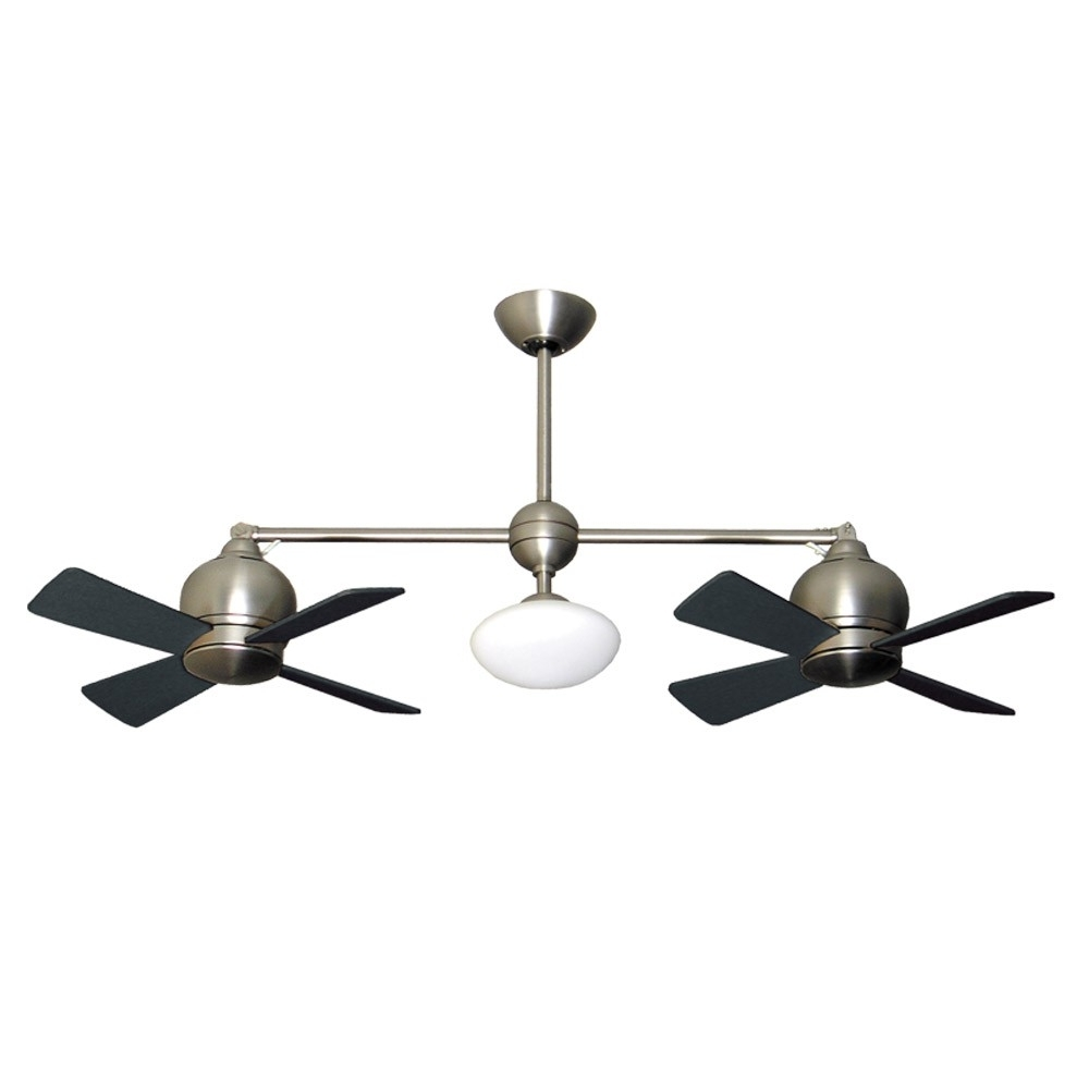 Modern Outdoor Ceiling Fans With Lights For Current Metropolitan Dual Motor Ceiling Fan – Modern Styling With Halogen (View 16 of 20)
