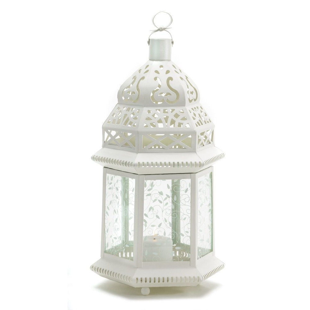 Moroccan Lantern Outdoor, Large White Candle Lanterns Decorative Intended For Best And Newest Outdoor Decorative Lanterns (View 6 of 20)