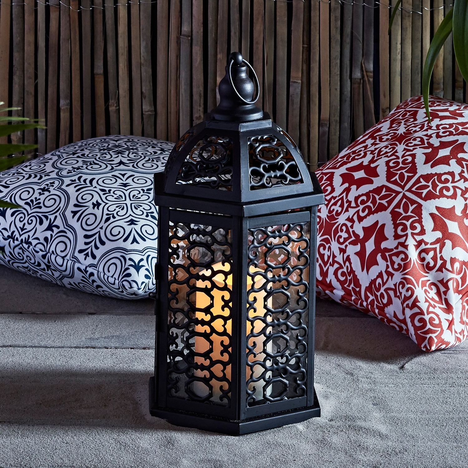 Moroccan Outdoor Electric Lanterns Intended For Most Recent Lights4Fun, Inc.: Moroccan Black Metal Battery Operated Outdoor Led (Gallery 14 of 20)