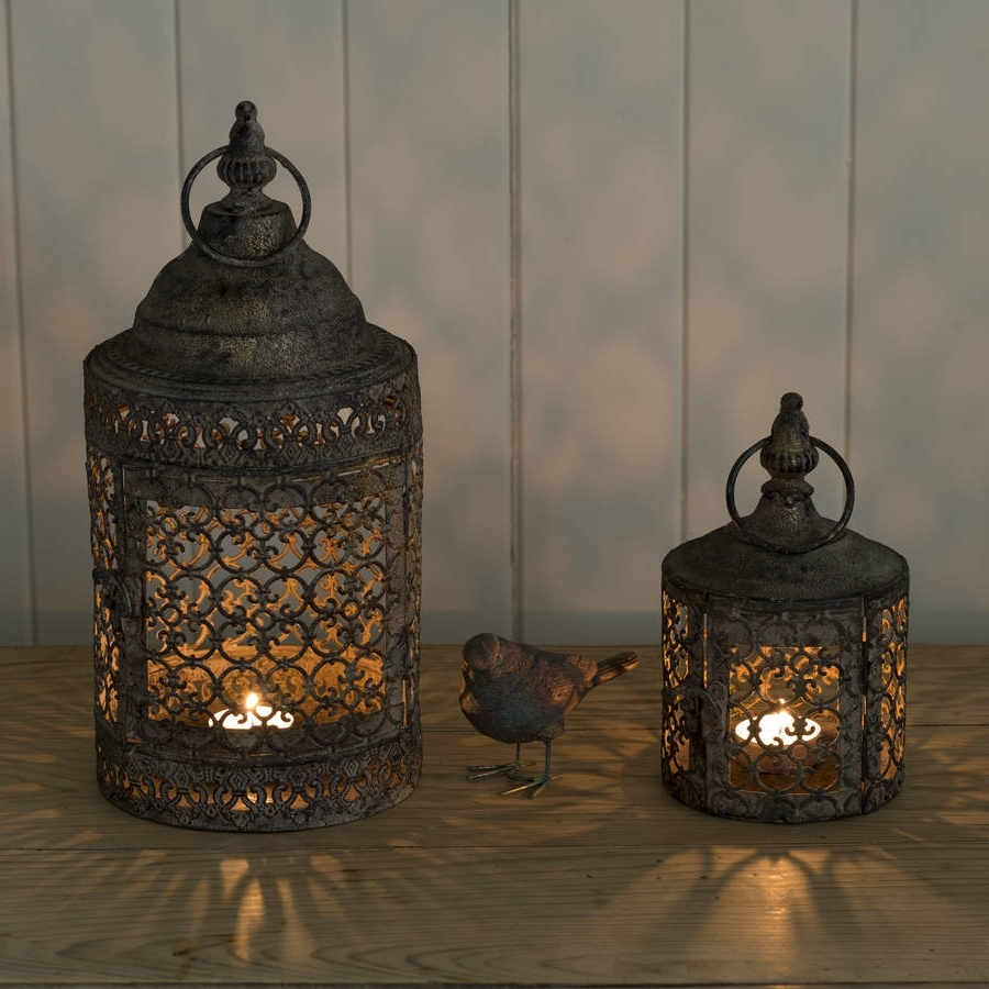 Moroccan Outdoor Lanterns Throughout Favorite Garden Candle Lanterns Decorative Metal Outdoor Patio Lighting (View 12 of 20)