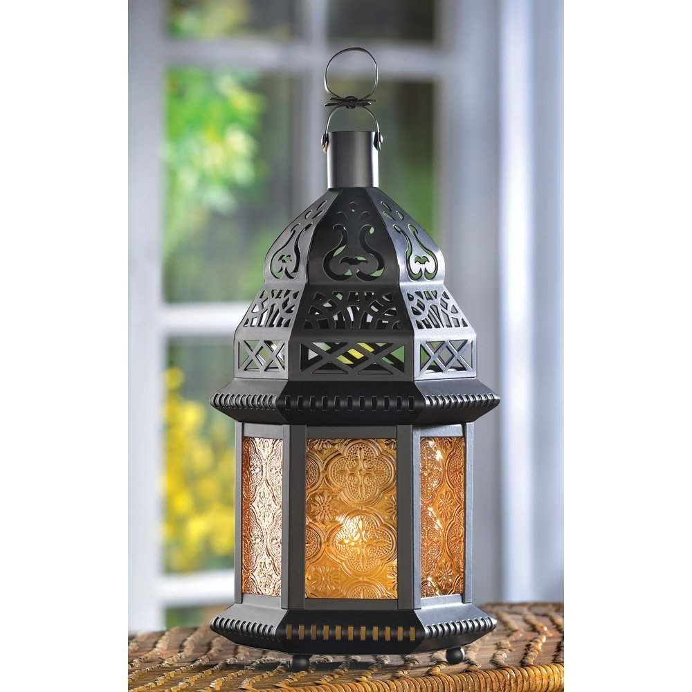 Moroccan Outdoor Lanterns With Best And Newest Moroccan Lantern Large, Yellow Glass Decorative Outdoor Lanterns For (Gallery 6 of 20)
