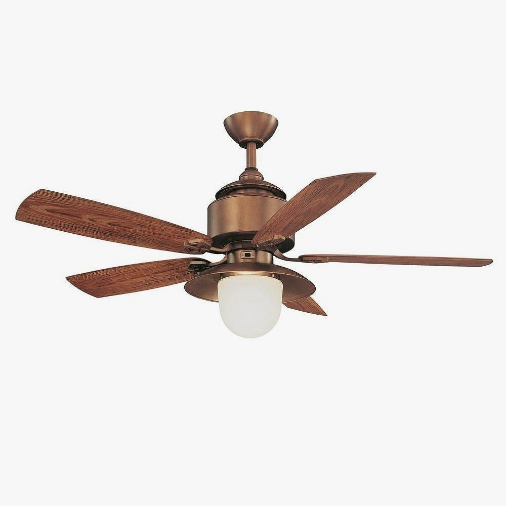 "Most Current Copper Outdoor Ceiling Fans Throughout Hampton Bay 52"" Copperhead Outdoor Weathered Copper Finish Ceiling (View 19 of 20)"