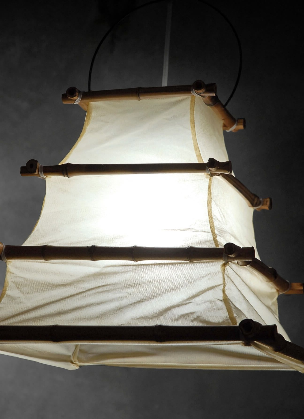 Most Current Outdoor Bamboo Lanterns Intended For Bamboo And Cloth Hanging Lantern 16x (View 8 of 20)