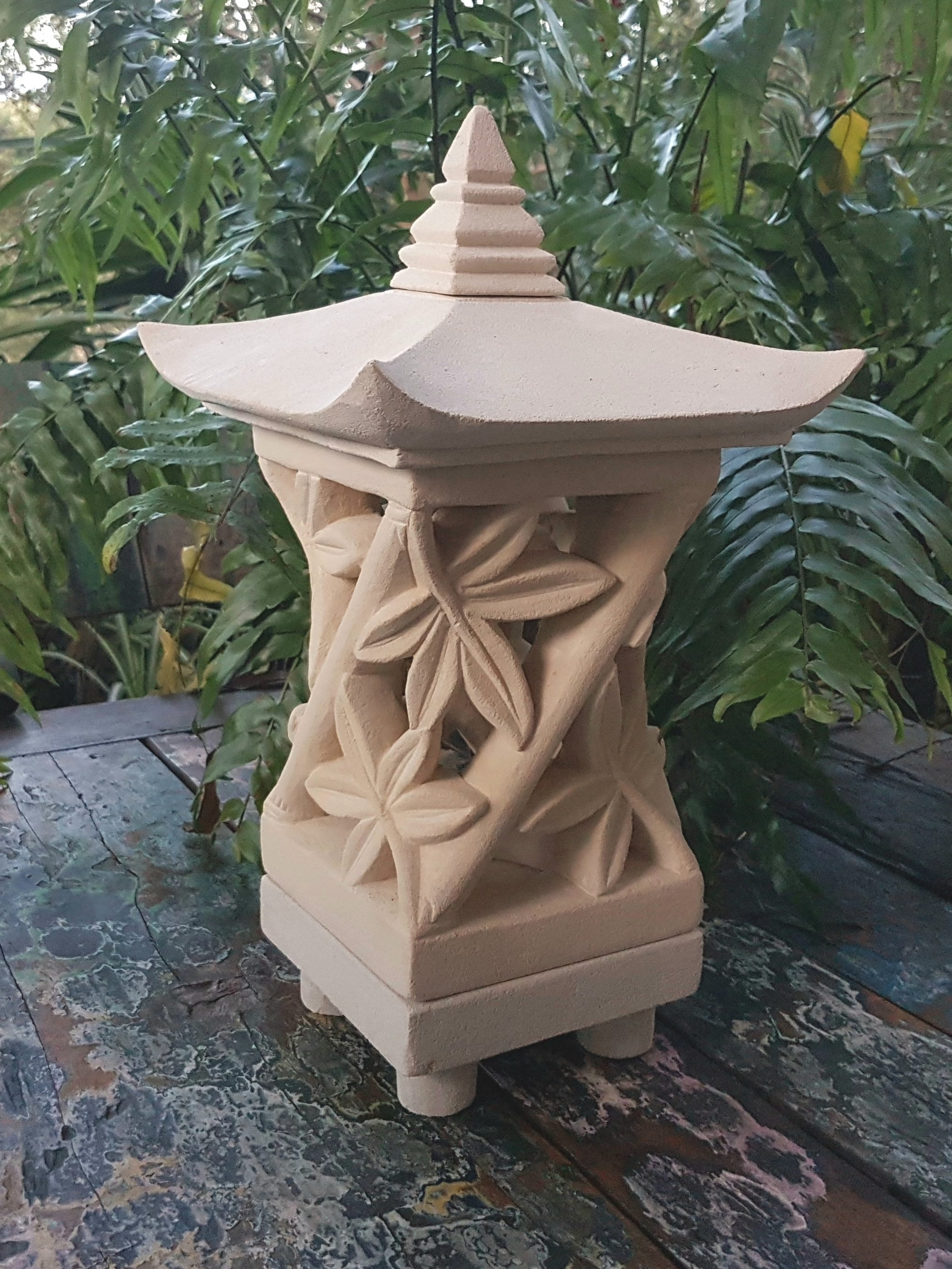Most Current Outdoor Bamboo Lanterns With Regard To Bali Limestone Lantern – Bamboo Lge • Casapandan (View 16 of 20)