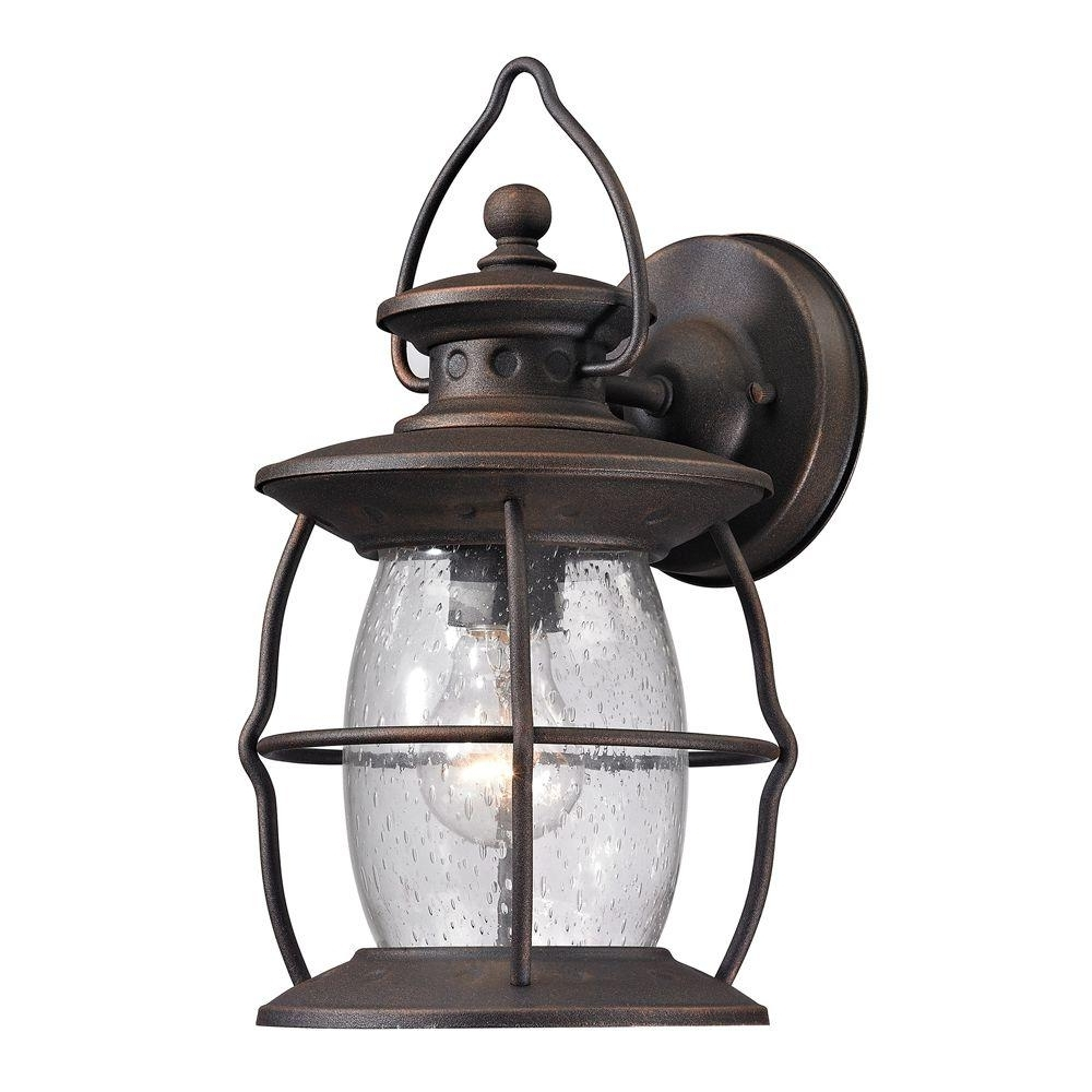 Most Current Outdoor Big Lanterns With Titan Lighting Big Oak Forge Collection 1 Light Weathered Charcoal (Gallery 15 of 20)