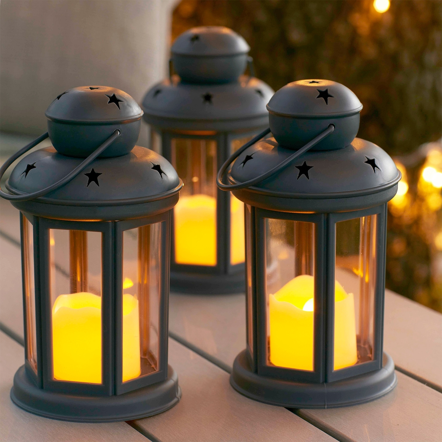 Most Current Outdoor Grey Lanterns Pertaining To Set Of 3 Grey Battery Operated Led Indoor Outdoor Flameless Candle (View 11 of 20)