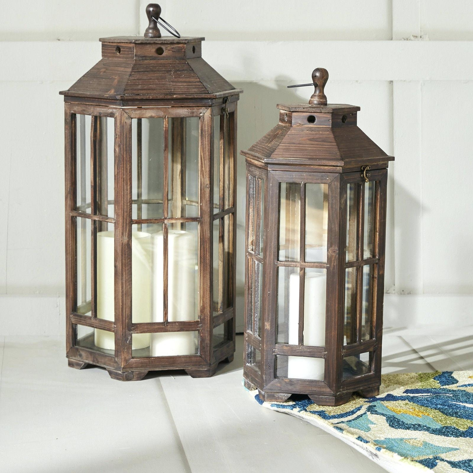 Most Current Outdoor Wood Lanterns Regarding Candles ~ Outdoor Candle Lanterns For Patio 2 Piece Wood Lantern Set (View 16 of 20)