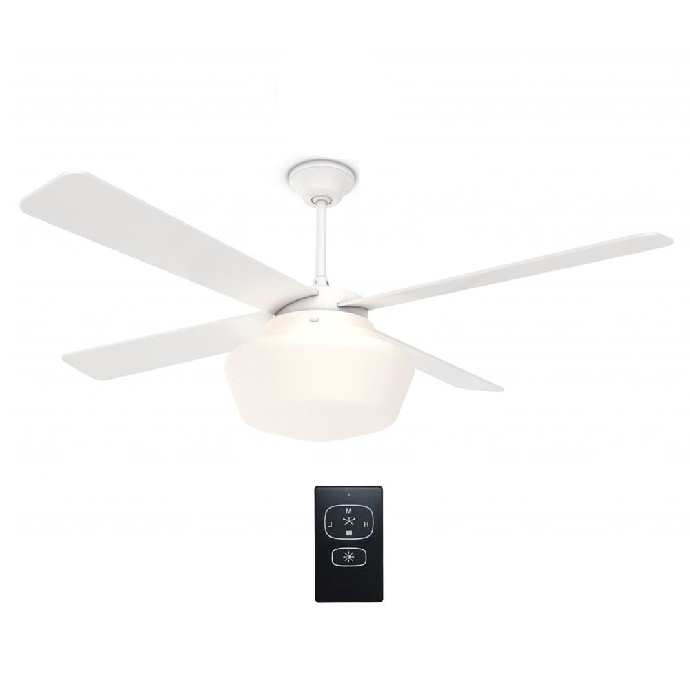 "Most Current Schoolhouse Ceiling Fan Gloss White With Remote 52"" – Eid Fans Intended For Outdoor Ceiling Fans With Schoolhouse Light (View 9 of 20)"