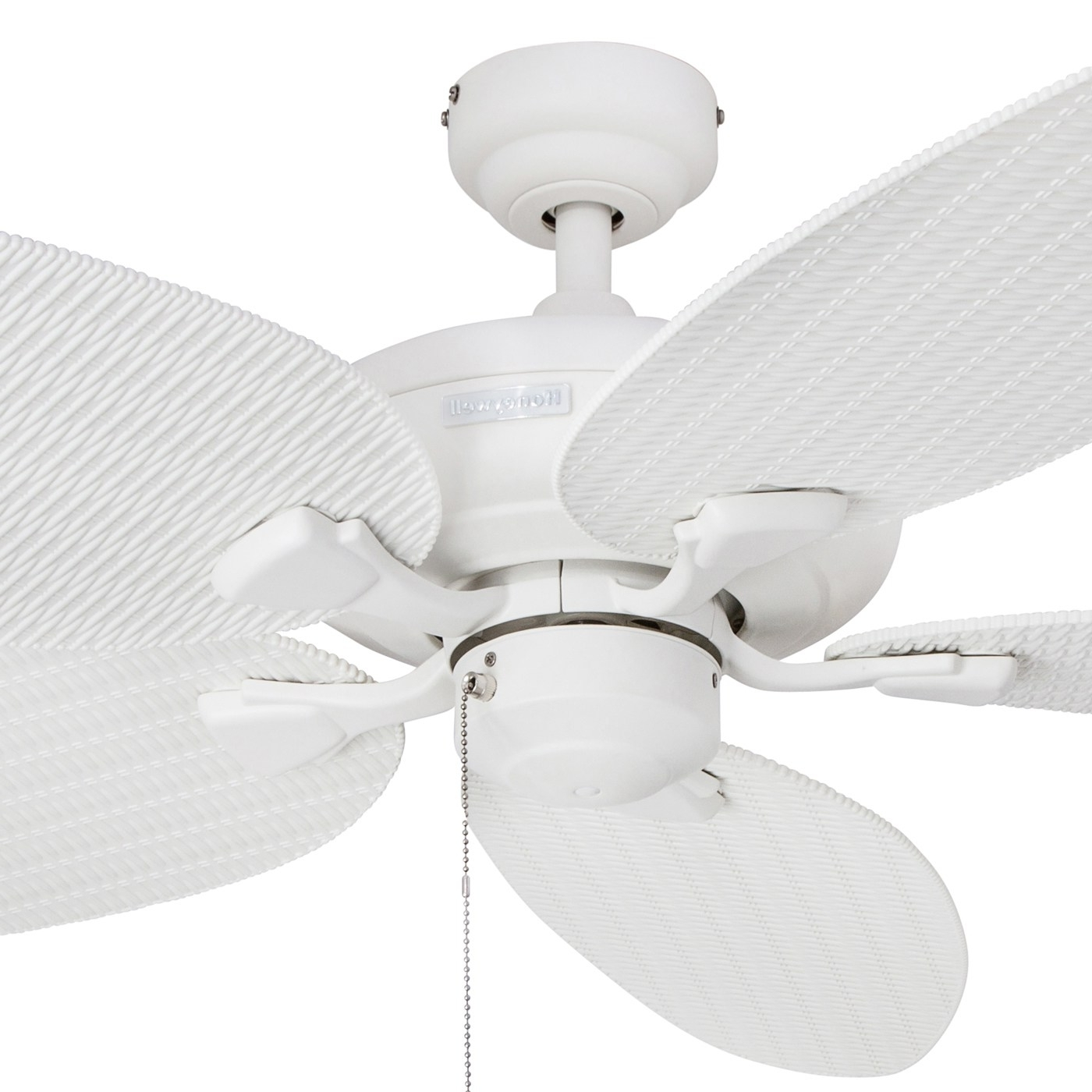 """Most Current Shop 52"""" Honeywell Duval White Indoor/outdoor Ceiling Fan With In Wicker Outdoor Ceiling Fans With Lights (View 9 of 20)"""
